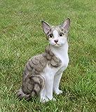 Niedliche Dekofiguer sitzende Katze Katzenfigur Tier Deko für Innen und Außen
