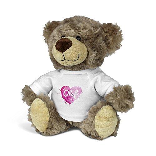 är mit Namen Olaf - Kuscheltier Teddy mit Design Painted Heart ()