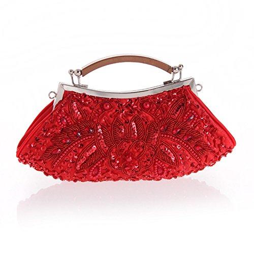 Sallyshiny-Borsetta con cristalli, perline e paillettes Evening Clutch Bag-Borsa sacchetti per feste e matrimoni (rosso)