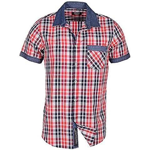 Camisa de diseñador para Caballero Carisma a Cuadros con Contraste en el Cuello
