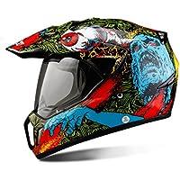 MATEROP Casco Motocicleta Casco Cara Completa Casco de Moto Motocross Motocicleta Touring Racing Red Skulls XL