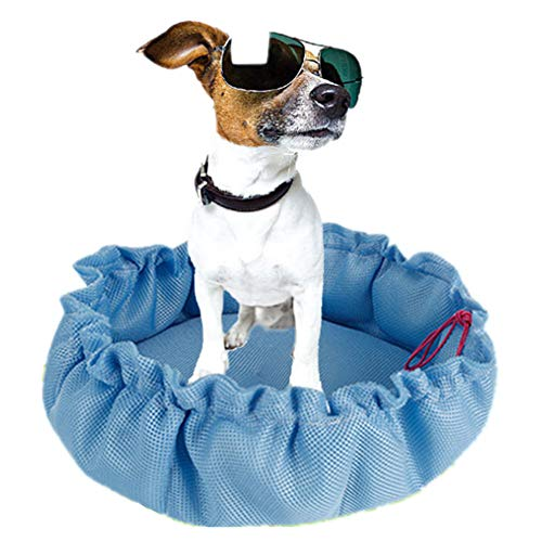 Einfach Seide (HEDDK Kühlmatte für Haustiere, weiches und einfaches EIS, Seide, zum Schlafen, Wärmeentlastung, Kühlkissen, blau, Large)