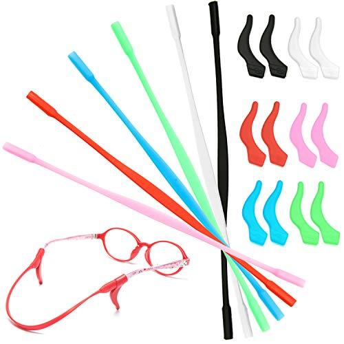 cococity Antirutsch Brillenband 6 Stück Silikon Brillen Halter Sport Brillenbügel mit 6 Paar Ohr-Haken Schwarz/Rot/Weiß/Pink/Blau/Grün (Ohr-haken-für Kinder-brille)