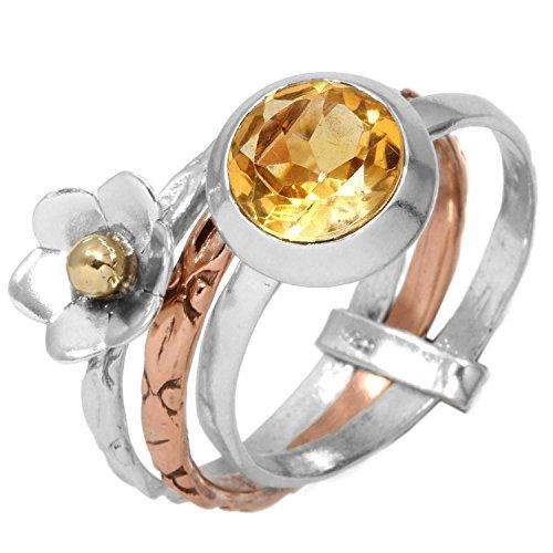 Zwei Ton 925 Sterling Silber Ring Natürliche Citrin Edelstein Sammlerstück Schmuck Größe 54 (17.2) Natürlichen Citrin Ring