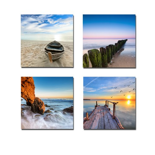 Wieco Art - Seaview Modern 4 Piece Stretched and Framed Seascape Giclee Canvas Prints Artwork Landscape Ocean Sea Beach Pictures Paintings on Canvas Wall Art for Living Room Bedroom Home Decorations