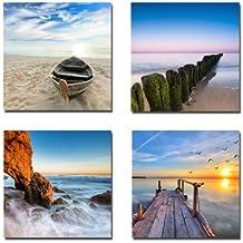 wieco Art–Seaview 4panneaux Paysage marin moderne impressions sur toile Impression Giclée Art Paysage mer plage Photos à tableaux photo sur toile Art Mural Décorations pour la maison décor mural