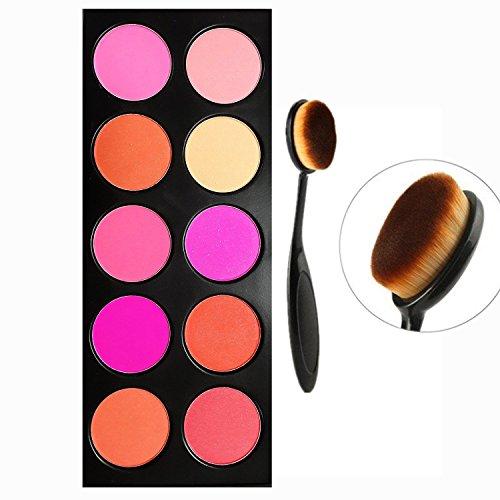 Tinabless 10 Couleur Blusher Palette beauté Cosmétiques Outils visage poudre Professional Maquillage Blushing avec Make Up Foundation Blush Brosse
