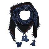 Superfreak® Hochwertiges Tuch im Pali-Look ° PLO Schal ° 120x120 cm ° Pali Palästinenser Arafat Tuch ° 100% Baumwolle, Farbe: schwarz/blau ° Muster 4