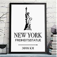 NEW YORK - FREIHEITSSTATUE mit individuelle Entfernungsangabe - originelles und persönliches Geschenk zum Geburtstag, Jahrestag, Hochzeitstag, zum Einzug oder Studienanfang - Rahmen optional zubuchbar