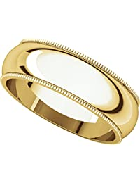 9ct Yellow Gold, Milgrain Wedding Band 6MM (sz H to Z5)