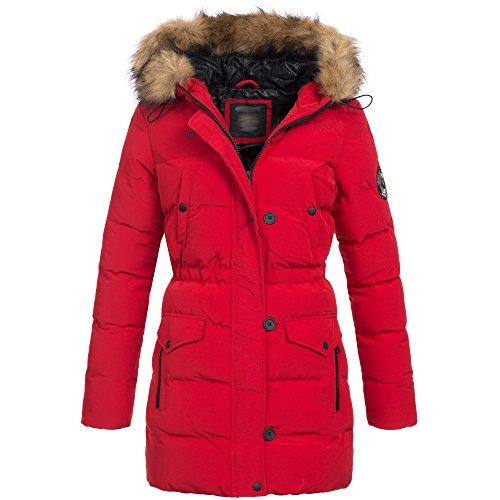 Brave Soul Whispering Azuonda Jacke Damen Winterjacke Mantel Winter Parka Kunstfell Kapuze OM-21, Farbe:Rot, Größe:S / 36