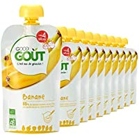 Good Goût - BIO - Gourde de Purée de Fruits Banane dès 4 Mois 120 g - Pack de 10