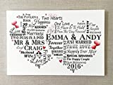 Unique Wedding Plaque Personalised Bride Groom Gift Typography Sign W215