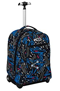 BIG TROLLEY - APPACK - 2in1 Wheeled Backpack with Disappearing Shoulder Straps - Black Blue 31Lt from Seven