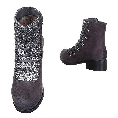 Leicht Reißverschluss Komfort Blockabsatz Grau Damen Ital Schlupfstiefel design Gefütterte Stiefeletten Schuhe wq11X40