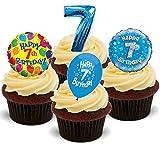7. Geburtstags Jungen Blau Mix - 12 essbare Standup Kuchen-Deko, Kuchendekorationen, essbar, Premium, 2 x A5, für 12 Bilder