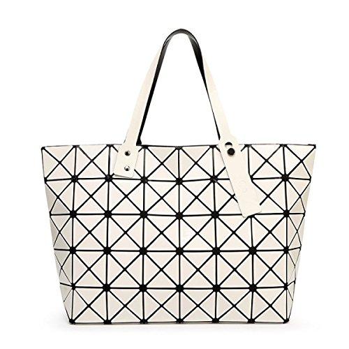 Damen Umhängetasche Handtasche Geometrie Faltenpaket Gesteppte white