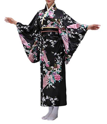 Kostüm Traditionelle Japanische - Damen japanischen traditionellen Kimono Cosplay Kostüme Bademantel Dressing Kleid (Schwarz, M)