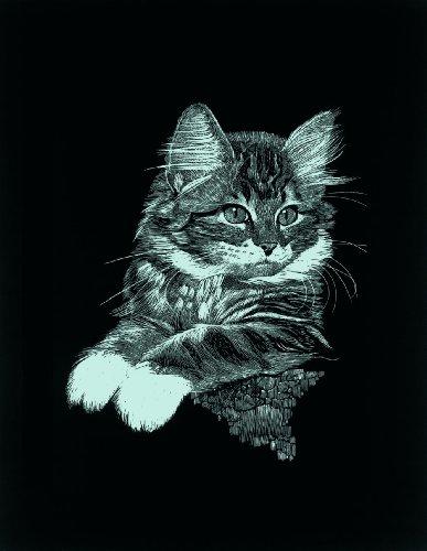 Kratzbild  Kratzbilder Katze und Hund Tiere   Kupferfolie Größe 25 cm x 20 cm