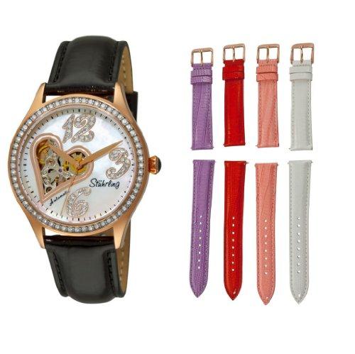 Da donna Stuhrling original 196a2, 11457 Lifestyle Audrey Love Story automatic scheletro Swarovski orologio set
