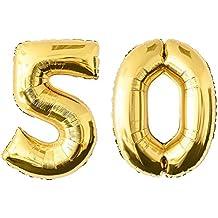 NUOLUX 52.49 pulgadas Número de Oro 50o Globo Party Festival Decoraciones Cumpleaños Aniversario Jumbo Foil Globos Suministros de Fiesta Foto Accesorios