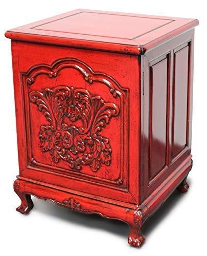 Asien lifestyle vintage armadietto rosso cina (42 x 45 x 60 cm) legno olmo - camera letto da notte comodino