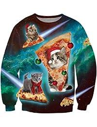 Uideazone hässliche Katze essen Pizza-Hemd Frauen-Männer-Weihnachten X-mas Geschenk,Asia XL= EU L
