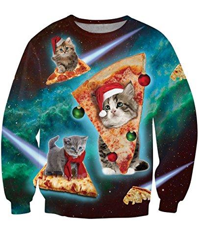 Uideazone hässliche Katze essen Pizza-Hemd Frauen-Männer-Weihnachten X-mas Geschenk,Asia L= EU M