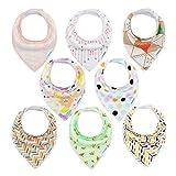 Baby Dreieckstuch Lätzchen 8er Saugfähig Weich Spucktuch Lätzchen Baumwolle Halstücher mit Druckknöpfen für Baby Jungen und Mädchen Kleinkinder von YOOFOSS