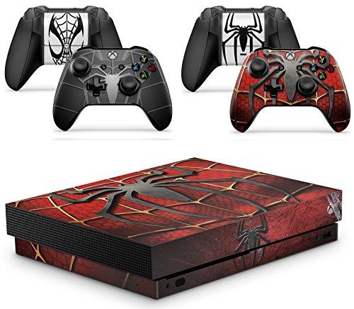 giZmoZ n gadgetZ GNG Xbox One X Konsolen-Gehäuseaufkleber, Motiv: Spiderman Gesicht inklusive 2er-Set mit Aufklebern für Controller