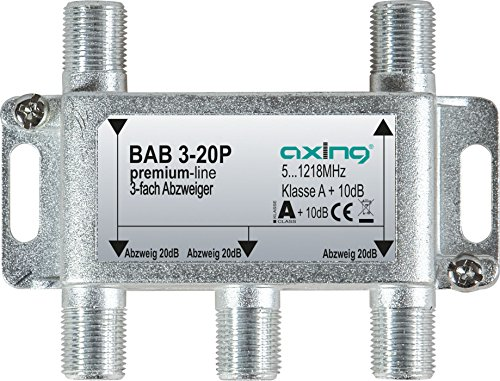 Axing BAB 3-20P 3-fach Abzweiger 20dB Kabelfernsehen CATV Multimedia DVB-T2 Klasse A+, 10dB, 5-1218 MHz metall