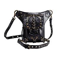 Cestlafit New Women Men Leather Vintage Shoulder Steampunk Punk Handbag Waist Packs Leg Bag, D Ring