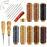FEPITO 21 Pièces en Cuir Fil Ciré avec Cuir Artisanat Outils À Main Kit pour DIY À Coudre Artisanat