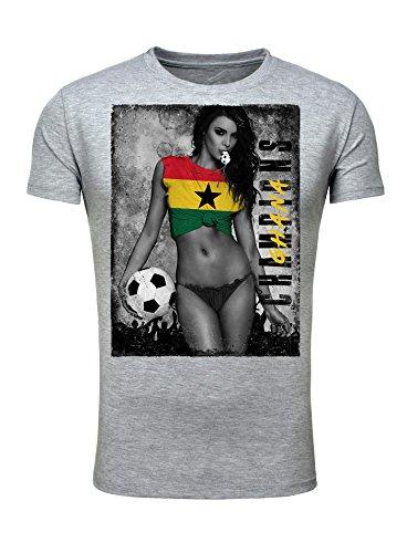 Legendary Items Herren T-Shirt WM 2018 Trikot Sexy Girl Frau Fußball Weltmeisterschaft Vintage Grau Ghana