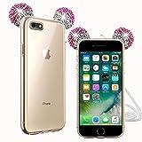 TVVT Compatible avec iPhone 5 / 5S / Se Coque, 3D Adorable Mickey Oreille Etui Ultra-Mince Glitter Housse Protection Oreilles Souris Case Paillettes Doux Silicone Housse Antichoc - Argent + Rose