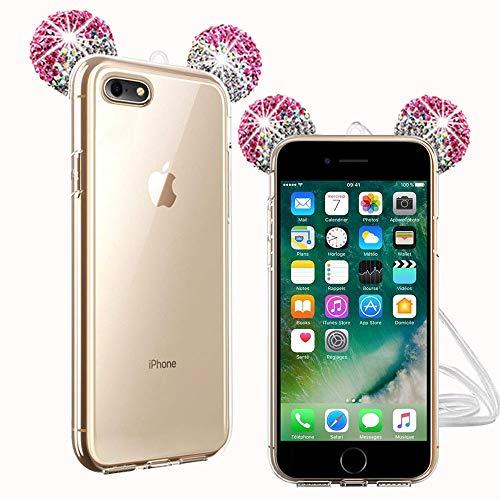TVVT Kompatibel mit iPhone 7 / iPhone 8 Hülle, 3D Süß Maus Ohren Bling Diamant Schutzhülle Ultradünn Transparent Weich TPU Silikon Transparent Handyhülle Kratzschutz - Silber + Rose