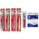 Colgate 4er Set Handzahnbürste Classic Deep Clean - 75 ml Zahncreme und 50 Zahnseide-Sticks (Deep Clean)