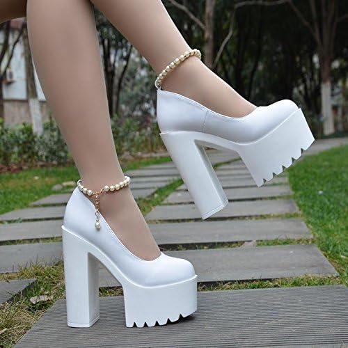 GTVERNH-Cheongsam Modelo Impermeable Plataforma Zapato Blanco Vestido De Novia Rough Talon Tacon 15 Cm Pie Mostrar...