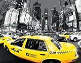 Schwarz/Weiß Fotografie - Poster NYC Taxis Broadway