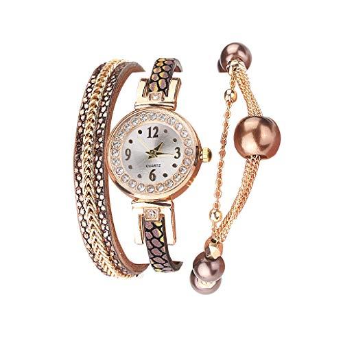 Fenverk Damen Schöne Mode Design Strass Armband,Armbanduhr Damen Mode Frauen Mädchen Analog Quarz Eule Anhänger Damen Kleid Armband Uhr Armbanduhr Armband Uhr Uhren(G#03)