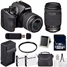 Pentax K-50 DSLR Camera With 18-55mm And 55-300mm Lenses (Black) + Replacement Lithium Ion Battery + External Rapid Charger + 32GB SDHC Class 10 Memory Card ++ Deluxe Starter Kit 6AVE Bundle