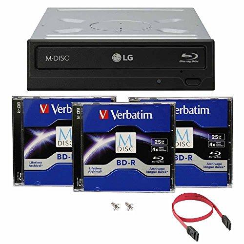 LG Blu-ray 14X M- Disc CD DVD BD BDXL Bluray -Brenner Laufwerk mit freiem 3pk Mdisc BD + Kabel und Befestigungsschrauben WH14NS40