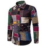 Heiß Verkauf ! Kobay Herren Lässige Langarmhemd Business Slim Fit Shirt Druck Bluse Top
