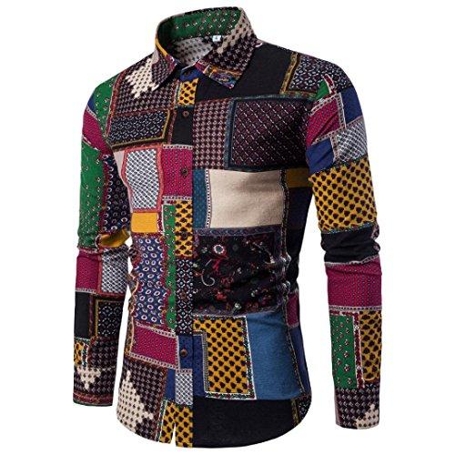 Heiß Verkauf ! Kobay Herren Lässige Langarmhemd Business Slim Fit Shirt Druck Bluse Top (Herren Militär Mantel)