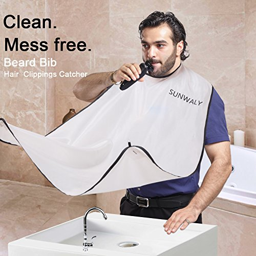 SUNWALY Beard Shaving Bib Beard Apron for Men Shaving,Hair Clippings Catcher & Grooming Cape Apron Trimming Non-Stick Hair Grooming with Mirror Suction Cups Keep Sink Clean