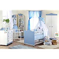 Babyzimmer Kinderzimmer Komplett-Set Prinz Blau Weiß Jungen/Prinzessin Rosa Weiß Mädchen Kinderbett Babybett Wickelkommode Kleiderschrank Regal