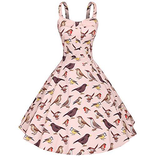 YAZACO Damen 50er Retro Kleid Ärmellos A-Linie Vogel Stoffdruck Partykleid Cocktailkleid Floral 03