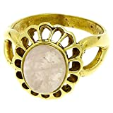 Chic-Net Messing Ringe Rosenquarz rosa Blume oval 19 mm antik golden nickelfrei Tribal Brass 56 (17.8)
