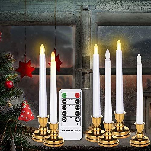 6 LED-Kerzen mit Ständer
