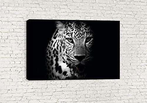 Umwerfende Leopard Wild Animal schwarz und weiß Leinwand Art Wand (76,2x 45,7cm/75x 45cm) -